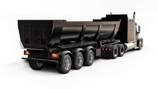 Grote zwarte amerikaanse vrachtwagen met een dumper van het trailertype voor het vervoer van bulklading op een witte achtergrond. 3d illustratie.