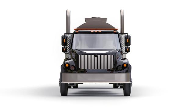 Grote zwarte tankwagen met een gepolijste metalen aanhanger. uitzicht van alle kanten. 3d illustratie.