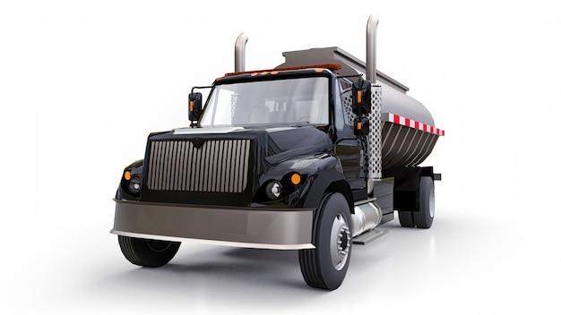 Grote zwarte tankwagen met gepolijste metalen trailer. uitzicht van alle kanten