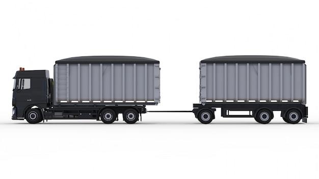 Grote zwarte vrachtwagen met aparte oplegger, voor transport van agrarische en bouwmaterialen en -producten. 3d-weergave