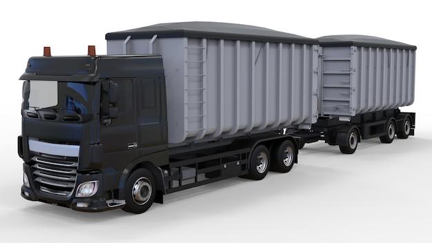 Grote zwarte vrachtwagen met losse aanhanger, voor transport van landbouw- en bouwstortgoederen en producten. 3d-weergave.