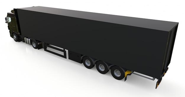 Grote zwarte vrachtwagen met oplegger. sjabloon voor het plaatsen van afbeeldingen