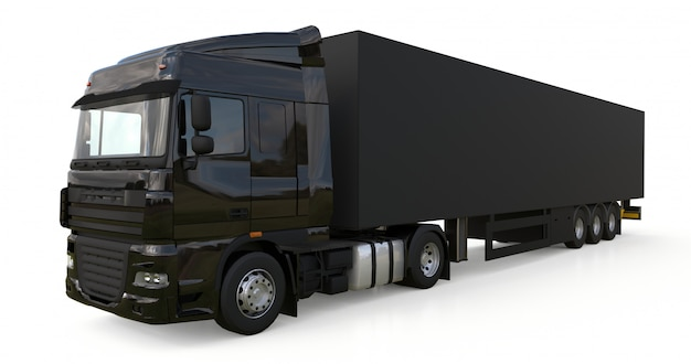 Grote zwarte vrachtwagen met oplegger sjabloon voor het plaatsen van afbeeldingen