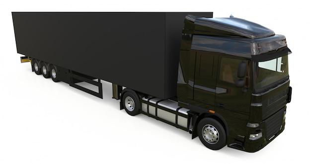 Grote zwarte vrachtwagen met oplegger