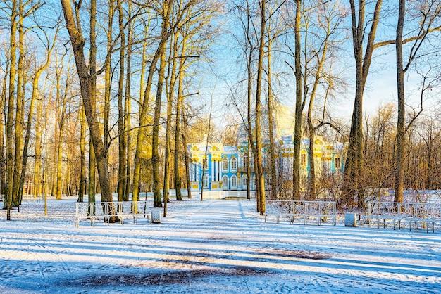 Grotpaviljoen in de voorstad tsarskoye selo (poesjkin) van sint-petersburg. rusland.