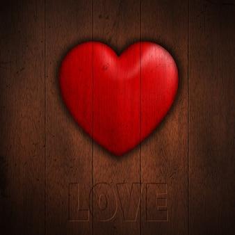 Grunge achtergrond met hart op donkere houten planken