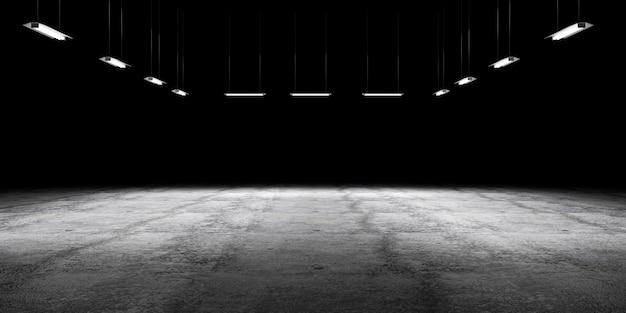 Grunge betonnen vloer met lamp verlicht en lege ruimte