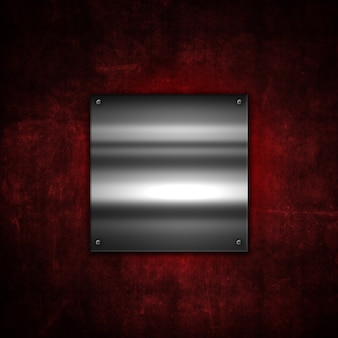 Grunge metalen achtergrond met een glanzende metalen plaat