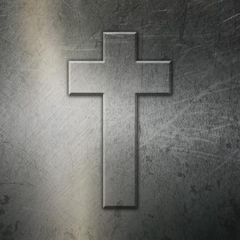 Grunge metalen achtergrond met kruis