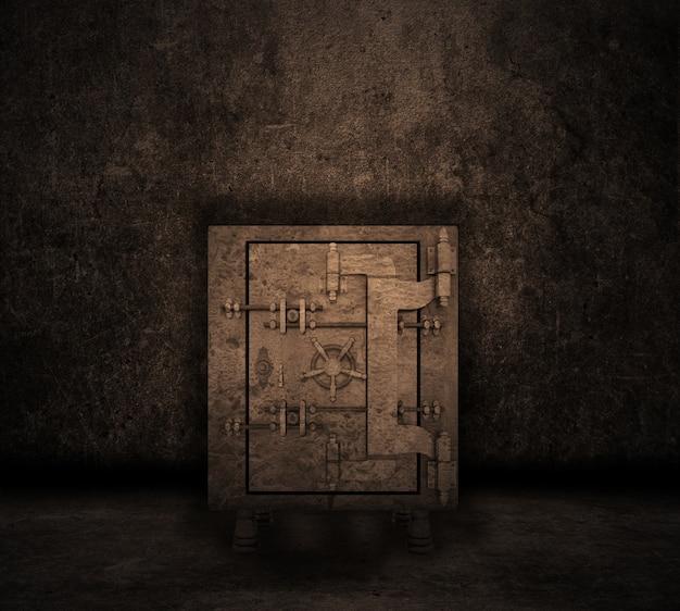 Grunge stijl beeld van een kamer interieur met kluis