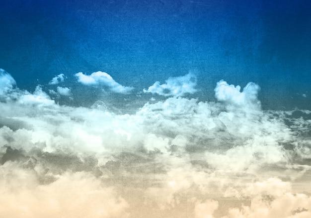 Grunge stijl blauwe hemel achtergrond met pluizige witte wolken