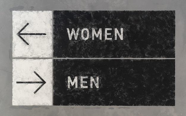 Grungeborden met pijlen die twee tegenovergestelde richtingen naar mannen en vrouwen richten.