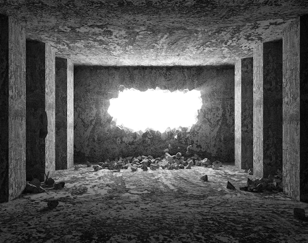 Grungy interieur met gebroken betonnen wand