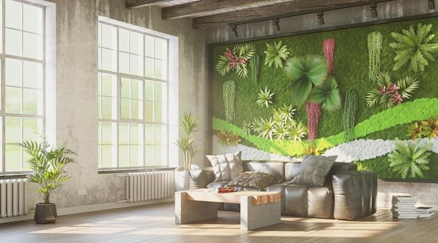 Grungy interieur met groene muur en comfortabele bank 3d render