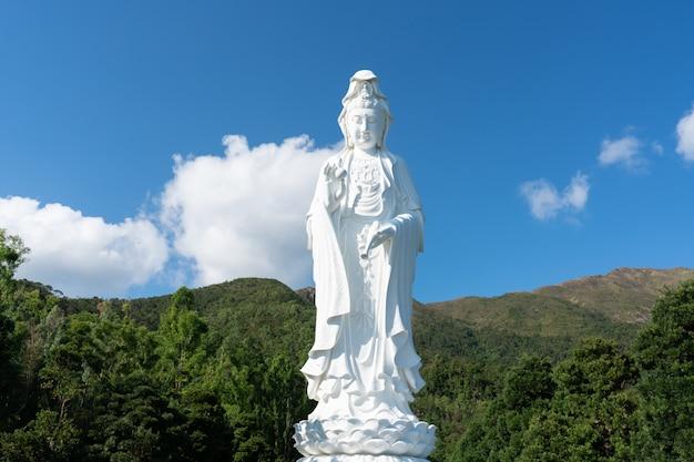 Guanyin chinees boeddhistisch klooster in tung tsz. veel van de kloosterbouwfondsen werden geschonken door de lokale zakenmagnaat.