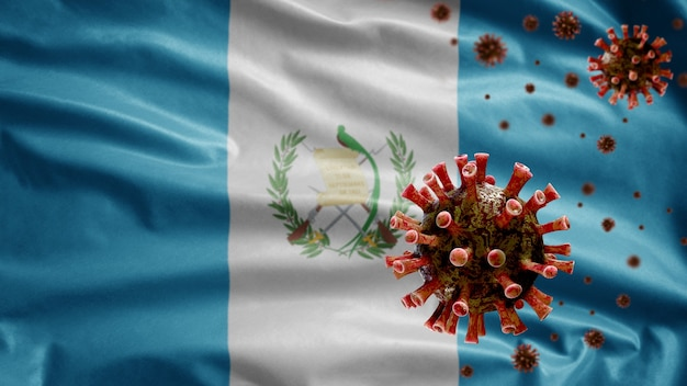 Guatemalteekse vlag wappert met uitbraak van coronavirus die het ademhalingssysteem infecteert als gevaarlijke griep