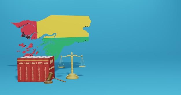 Guinee-wet voor infographics, sociale media-inhoud in 3d-weergave