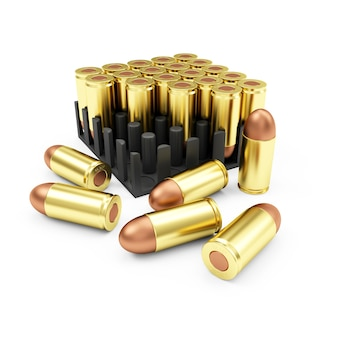 Gun bullets ammo pack geïsoleerd