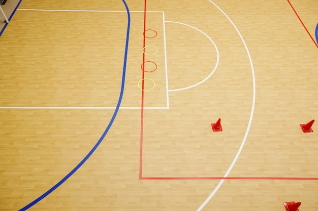 Gym voor zaalvoetbal, minivoetbal. gevouwen houten parket op het veld van de hal voor minivoetbal.