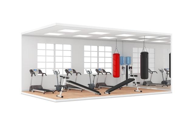 Gymnasium kamer interieur met groot raam, trainingsbanken, lederen bokszakken voor bokstraining, loopbandmachines en houten parketvloer op een witte achtergrond. 3d-rendering
