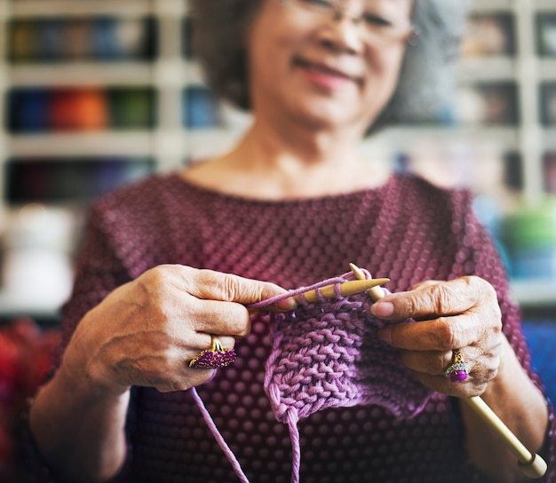 Haak senior adult hobby handicraft concept