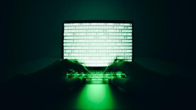 Hacker die laptop gebruikt om virussen of malware te coderen voor het hacken van internetserver cyberaanval