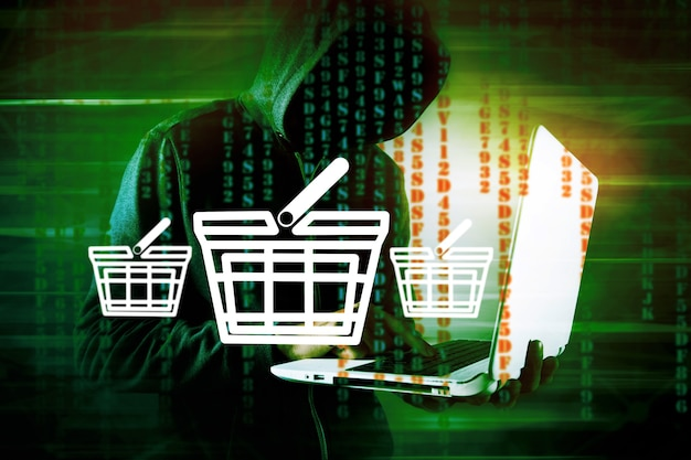 Hacker doet online aankopen door te hacken op een green