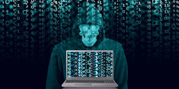 Hacker in zwarte kap op binaire achtergrond code met een binaire stroom en een beveiligingsvoorwaarde. cyber security database penetratie 3d-afbeelding