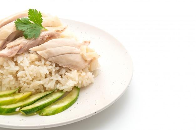 Hainanese kippenrijst of gestoomde kippenrijst