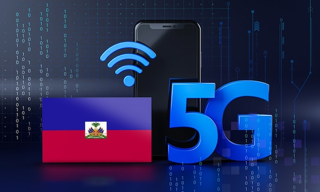 Haïti klaar voor 5g-verbindingsconcept. 3d-rendering smartphone technische achtergrond
