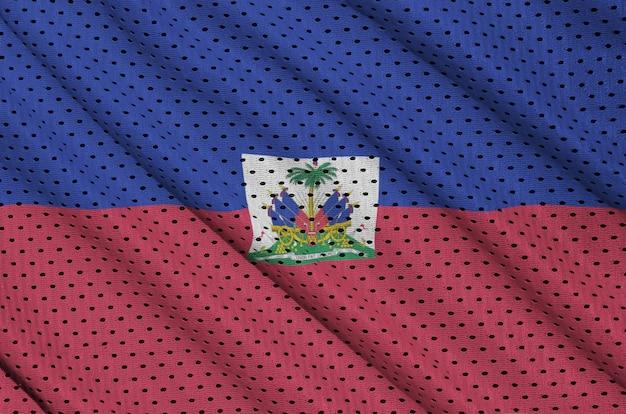Haïti vlag gedrukt op een polyester nylon sportkleding mesh stof