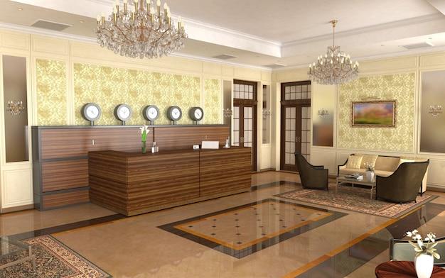 Hal, hotellobby, interieurvisualisatie, 3d-afbeelding
