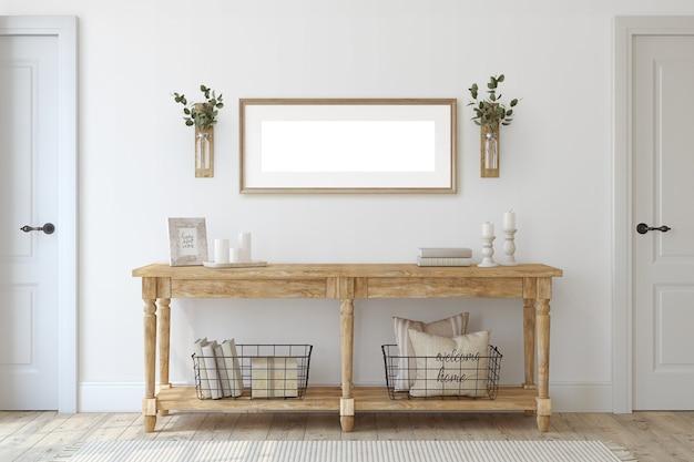 Hal van de boerderij. houten consoletafel dichtbij witte muur. frame mockup. 3d render.