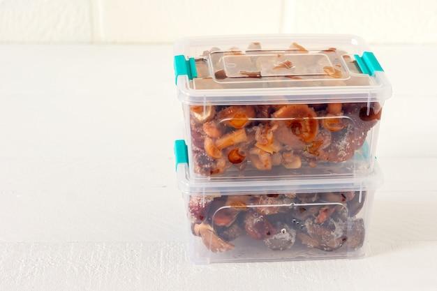 Half afgewerkte producten. diepvries voedsel. agaric van honingpaddestoelen in plastic containers. voedselbereiding voor de winter.