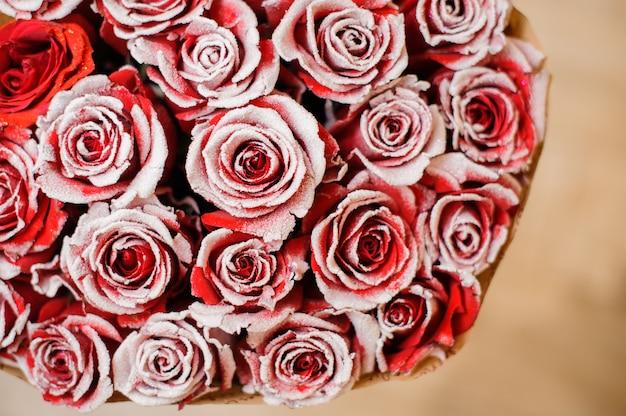 Half beeld van rond romantisch boeket van rode pionvormige rozen versierd met wit poeder