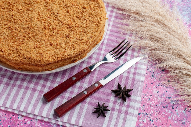Half-bovenaanzicht heerlijke ronde cake binnen plaat met bestek op het felroze bureau taart taart biscuit zoet bakken