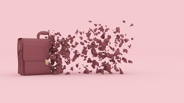 Half vernietigde koffer met fragmenten die wegvliegen, 3d illustratie