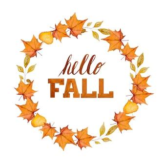 Hallo herfst. inschrijving op de achtergrond van een krans. mooie wenskaart. gefeliciteerd voor familie, familieleden, vrienden en collega's