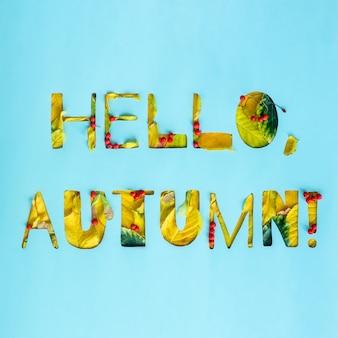 Hallo herfst volumineuze tekst van herfstbladeren