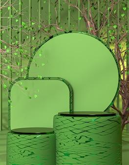 Hallo lente luxe podium podium display voor productpresentatie 3d-rendering achtergrond