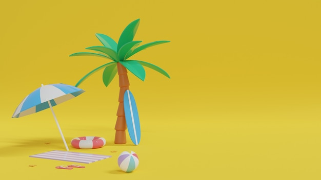 Hallo zomer met strandlandschap. 3d rendering illustratie.