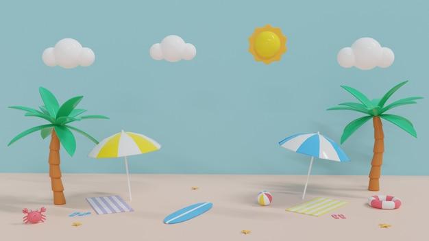Hallo zomer met strandlandschap en zand. 3d rendering illustratie.