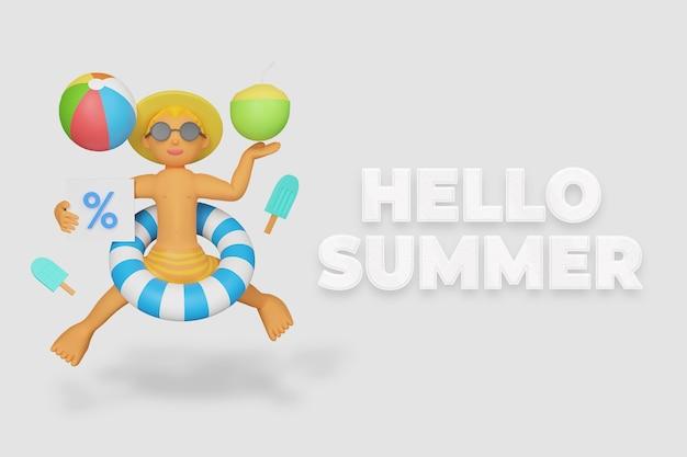 Hallo zomerachtergrond met kind met strandaccessoires