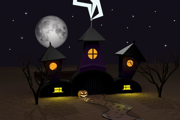 Halloween 3d render van donker kasteel, bliksem, lichtgevende halloween pompoenen jack-o-lantern, dwaas maan, bomen en stenen pad. herfstvakantie poster.