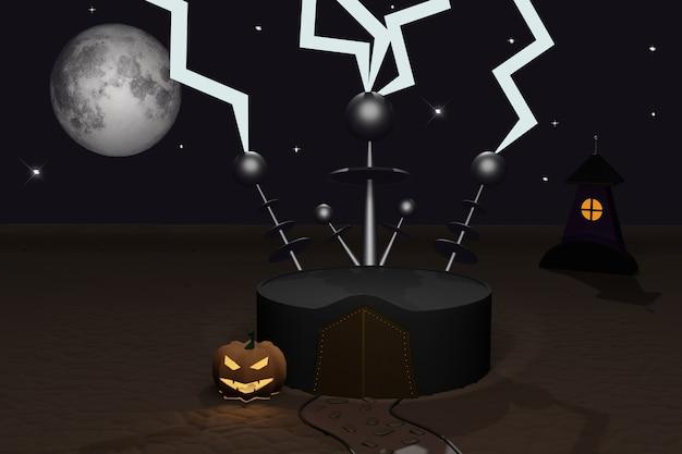Halloween 3d render van leeg podium met donker kasteel, bliksem, halloween pompoenen jack-o-lantern, dwaas maan, magische deur en stenen pad. herfstvakantie. scène om producten voor reclame te tonen.
