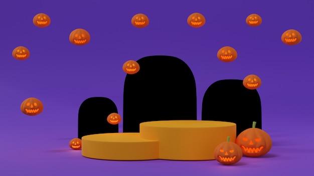 Halloween-achtergrond met geel podium voor productvertoning versierd met halloween-pompoenen of jack o lantern met grafstenen minimalistische stijl op paarse achtergrond, 3d-rendering.