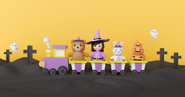 Halloween-achtergrond met leuke heks, pompoenen en vrienden