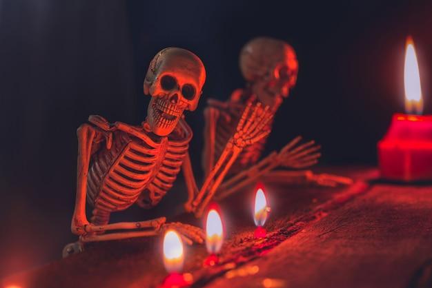 Halloween-achtergrond met skeletten