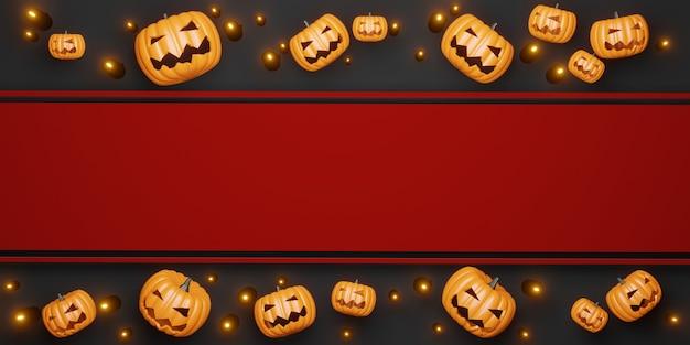 Halloween achtergrond pompoen en kaarsen 3d illustratie