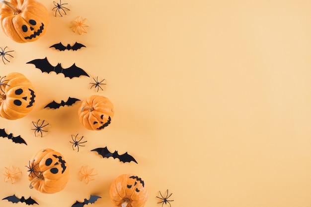 Halloween-ambachten op oranje achtergrond